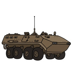 Sand wheeled troop carrier vector image