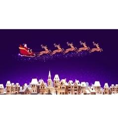 Santa claus in sleigh pulled reindeer flying vector