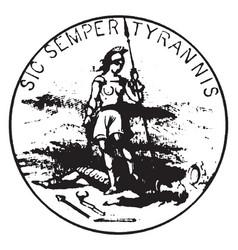 Seal commonwealth virginia 1876 vintage vector