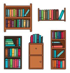 Set bookshelf vector