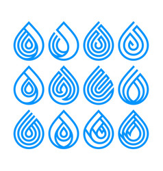 set bue different water drop icons vector image