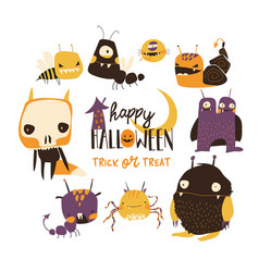 Set cute colorful monsters on white background vector