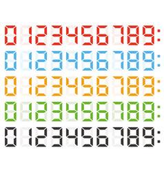 Set digital numbers led clock numbers vector