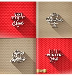 Set of christmas type design with long shadow vector