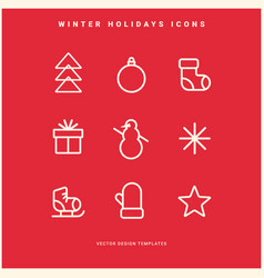 set winter holidays icons vector image