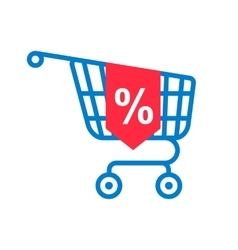 Shopping cart with percentage discount vector