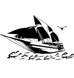 Silhouette a sailboat on waves vector