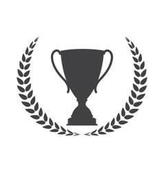 Silhouette of Trophy Cup Winner with a Laurel vector