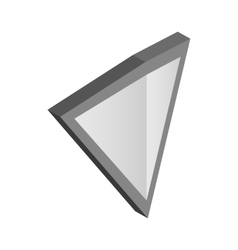 Silver triangular shield icon isometric 3d style vector image