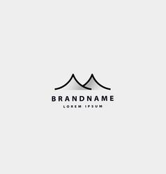 Simple mountain desert monoline logo design vector