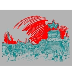 sketch hand drawing Piazza Venezia in Rome - Altar vector image
