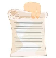 Slip of paper in hand vector