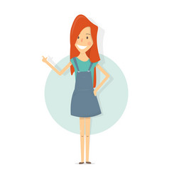 smiling woman pointing finger showing copy space vector image