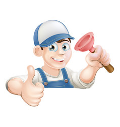 spanner man over banner thumbs up vector image