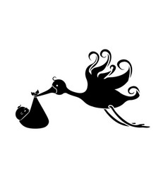 Stork carrying a baby in a bag vector