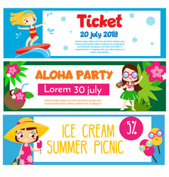 Summer party banners invitations advertisements vector