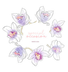 summer watercolor wreath with violet orange vector image