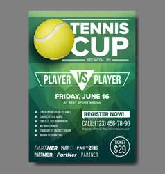 Tennis poster tennis ball sports event vector