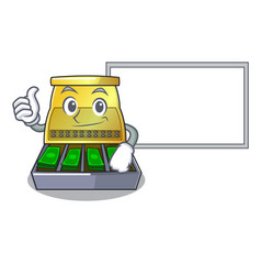Thumbs up with board electronic cash register vector