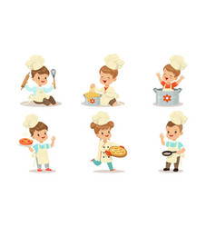 Toddlers in cook suits are cooking vector