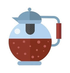 Traditional tea ceremony gray teapot with cup on vector