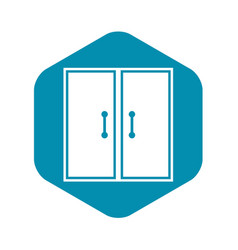 Two glass doors icon simple style vector