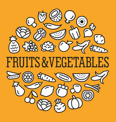 Vegetables and fruits icons in a circular shape vector