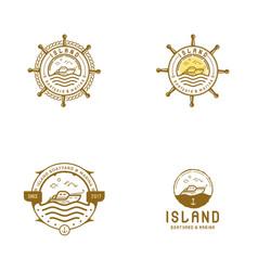 Vintage mono line sailor boat logo vector