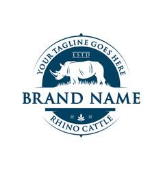 Vintage rhinoceros logo design vector