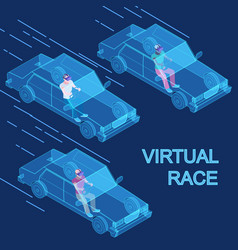 virtual reality race 3d isometric concept vector image