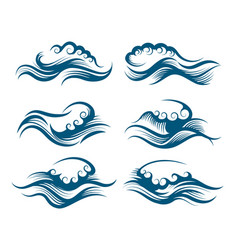 waves in engraving style vector image