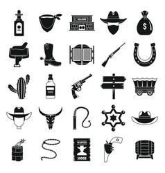 Western cowboy icons set simple style vector