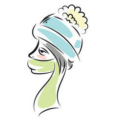 woman in a winter hat and scarf color on white vector image