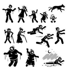 zombie family and infected stick figures vector image