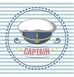 captain hat nautical and marine sailing themed vector image