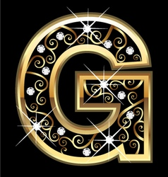 G gold letter with swirly ornaments vector image vector image