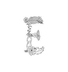 letter e floral ornament vector image