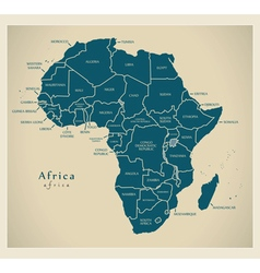 Modern map - africa continent with country labels vector
