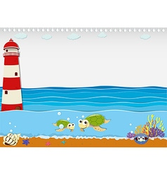 Ocean scene with lighthouse and animals vector image