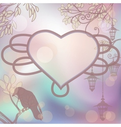 retro background with lanterns and heart frame vector image vector image