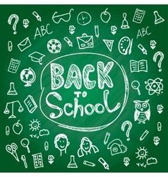 Set back to school Blackboard chalk sketch White vector image vector image