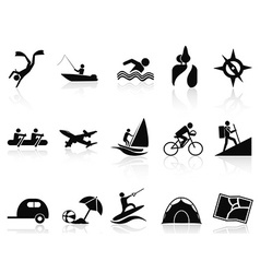 summer activities icons set vector image vector image