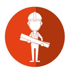 woman building construction wooden boards shadow vector image