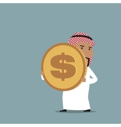 Arabian businessman carrying a golden dollar coin vector image vector image