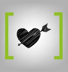 arrow heart sign black scribble icon in vector image vector image