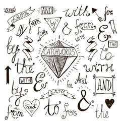 hand-lettered hand drawn ampersands and vector image