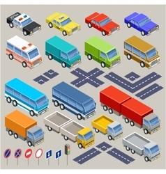 Isometric road set vector image