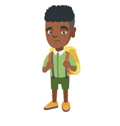 little african sad schoolboy carrying a backpack vector image vector image