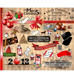 Merry Christmas icons collection vector image vector image