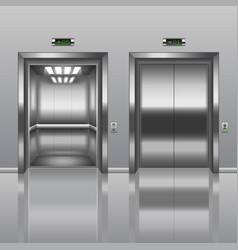 open and closed elevator vector image vector image